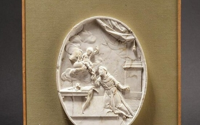 An exquisite Italian marble relief with a depiction of