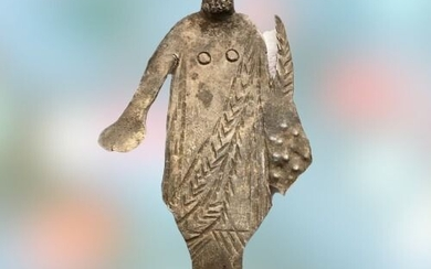 Ancient Roman Silver Figurine of a bearded Priest wearing Toga holding Patera and Cornucopia (the horn of plenty).