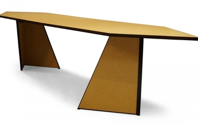 Andrew Kindler, a modern chipboard dining table, of recent manufacture,...