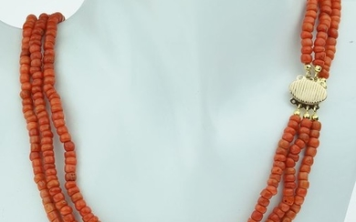 Antiek - 18 kt. Yellow gold - Necklace Blood coral