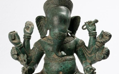 Antique Khmer Style Angkor Wat Seated 8 Arm Ganesha