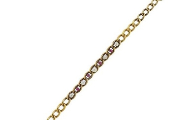 Antique Victorian 14k Gold Pearl Red Stone Bracelet