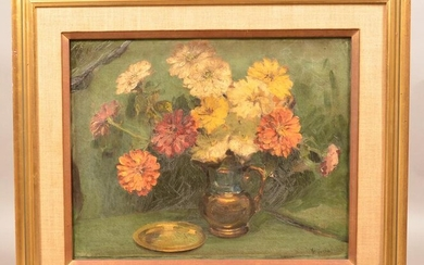 Arrah Gaul Oil On Canvas Floral Still Life Painting.
