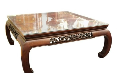 Asian Carved Wood Coffee Table with Glass Top