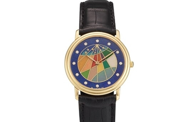 BLANCPAIN | REFERENCE B00Z1 1433 55 A YELLOW GOLD AND DIAMOND-SET WRISTWATCH WITH CLOISONNÉ ENAMEL DIAL, CIRCA 1997