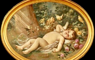 Beautiful Large Antique Oil on Tapestry of Cherub