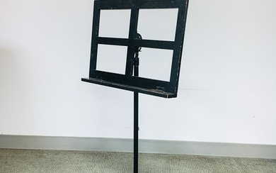 Black-painted Wood and Cast Iron Music Stand, ht. 38, wd. 19 1/2 in.