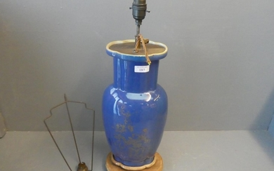 Blue ground Chinese lamp with rubbed gilt decoration to body...