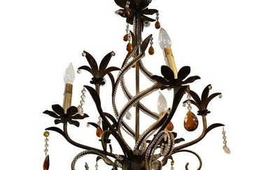 Brass Floral Helix Chandelier w Amber Glass Beads