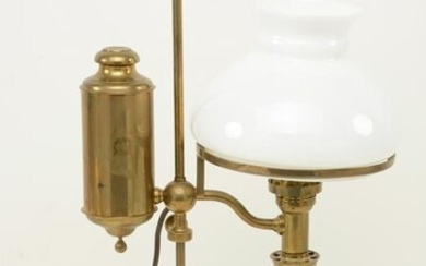 Brass student's lamp with white glass shade, 19th
