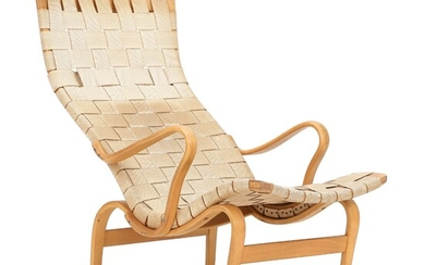 """Bruno Mathsson: """"Pernilla 2"""". Easy chair with beech frame. Seat and back with woven sand..."""