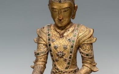 Burma Dried lacquer and gold leaf Buddha statue - 61×41×22 cm