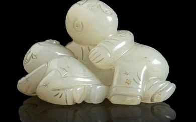 CELADON JADE CARVING OF BOYS AT PLAY QING DYNASTY, 19TH