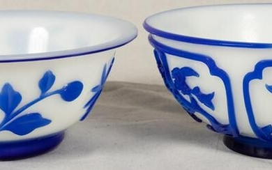 """CHINESE GLASS BOWLS 2 PIECES H 2.5-2.625"""" DIA 6"""" BLUE"""