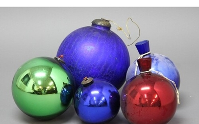 COLLECTION OF GLASS WITCHES BALLS, in various colours, inclu...