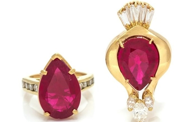 COLLECTION OF SYNTHETIC RUBY AND DIAMOND JEWELRY