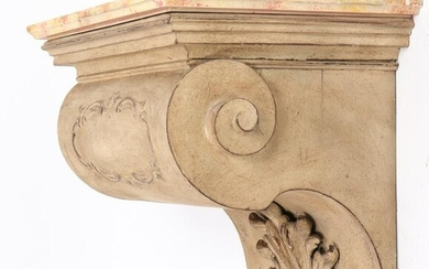 Carved & Painted Wood Corbel Wall Shelf