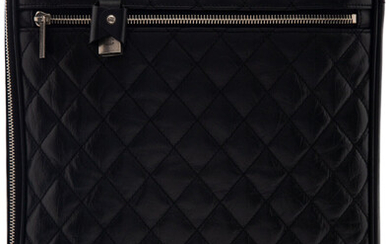 Chanel Black Quilted Distressed Leather Suitcase & Cover Condition:...