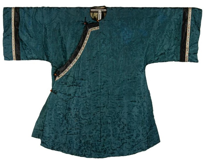 Chinese Blue Silk Lady's Robe, 19th Century