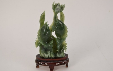Chinese Carved Jade Group depicting 2 Koi Fish swimming