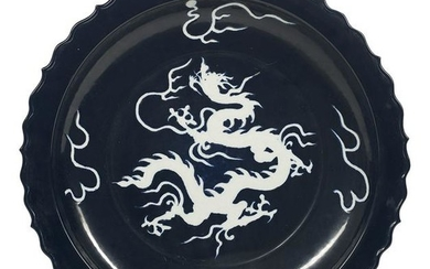 Chinese Cobalt Blue and White Dragon Charger