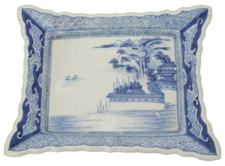 Chinese Export Blue and White Porcelain Tray