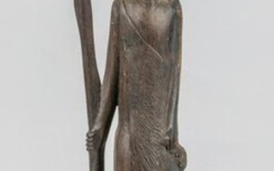 Collectible Art African Wood Figure of Tribe warrior
