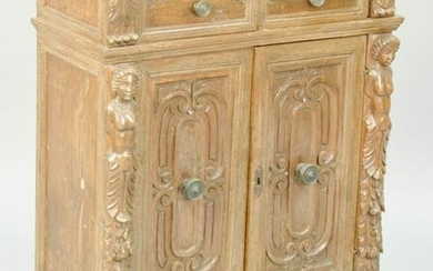 Continental Baroque Carved Walnut Small Cabinet, two