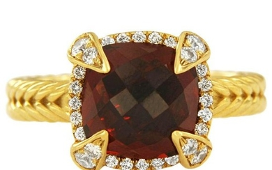 David Yurman Chatelaine Pave Bezel Ring with Garnet