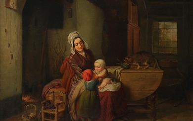 Dutch School 19th Century A mother and her...
