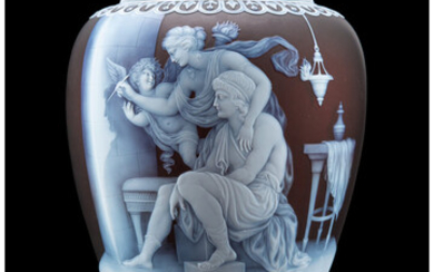 Exceptional and Important George Woodall for Thomas Webb & Sons Cameo Glass Vase: The Origin of Painting (circa 1887)