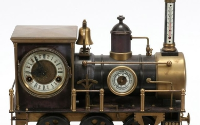 FRENCH AUTOMATION COPPER LOCOMOTIVE CLOCK