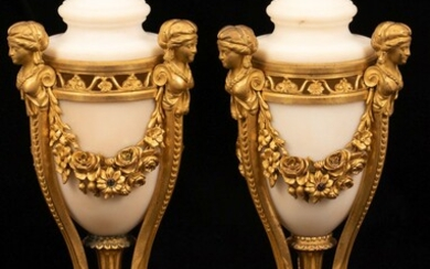 """FRENCH GILT BRONZE & MARBLE COVERED URNS, 19TH.C. PAIR, H 14"""", DIA 5"""""""