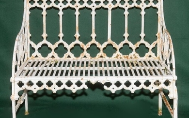 FRENCH GOTHIC CAST IRON BENCH, late 19th century, to a desig...