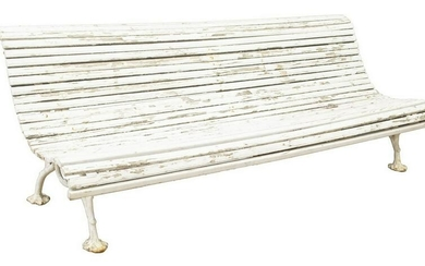 FRENCH PAINTED SLATTED & CAST IRON GARDEN BENCH