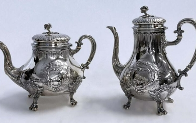 FRENCH SILVER COFFEE & TEAPOTS W/ ROSE FINIALS