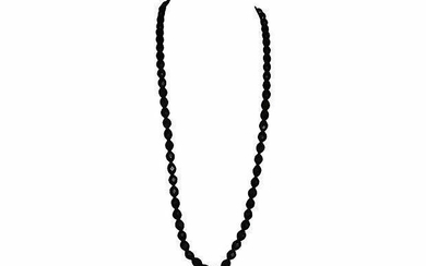 Faceted Black Bakelite Bead Necklace