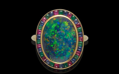 Fine Black Opal Ring with Multi-gem Surround