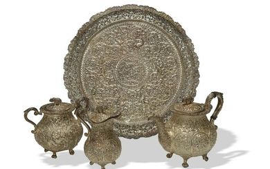 Fine Indian Silver Tea Set with Parcel Gilt Tray