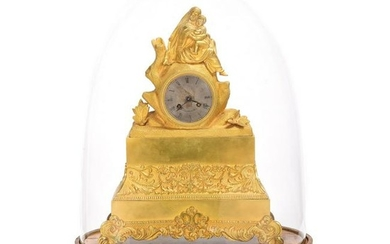 French Empire Brass Figural Mantle Clock with Silk
