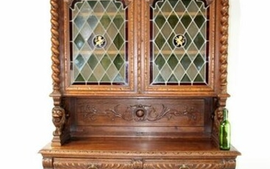 French buffet with leaded glass doors