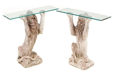 Garden Furniture: A pair of unusual composition stone seated lion console tables