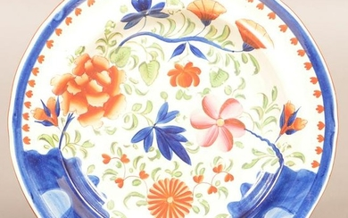Gaudy Dutch Soft Paste China Double Rose Pattern Plate.