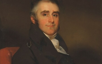 George Chinnery (1774-1852), Portrait of a gentleman, seated half length, wearing a brown jacket