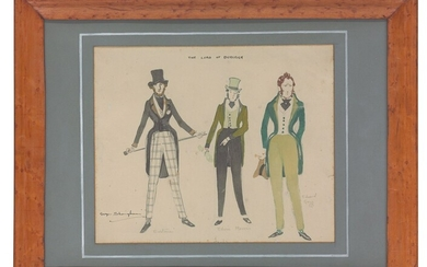George Sheringham (1884-1937), Costume designs for Lord Burleigh, Edwin Morris and Edward Grey in 'The Lord of Burleigh'