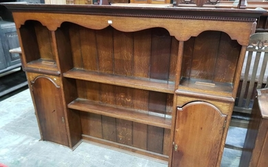 Georgian Style Oak Dresser Top, with shaped frieze, open shelves flanked by two arched top cupboards (base moulding needs re-attachi...
