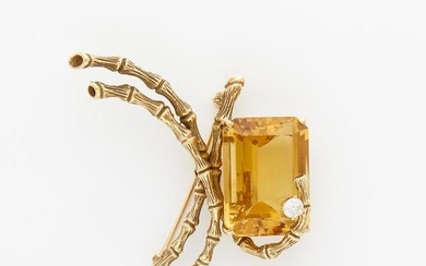 Gold, Citrine and Diamond Brooch, Erwin Pearl