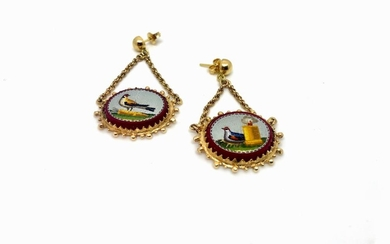 Gold and Micromosaic Earrings early 19 th century