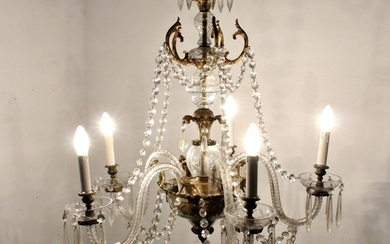 Large salon chandelier / ceiling light / lamp of crystal glass, 1920s/1930s