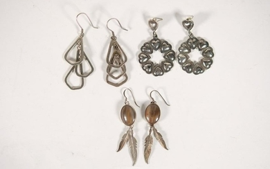Group, Three Pairs Sterling Silver Earrings